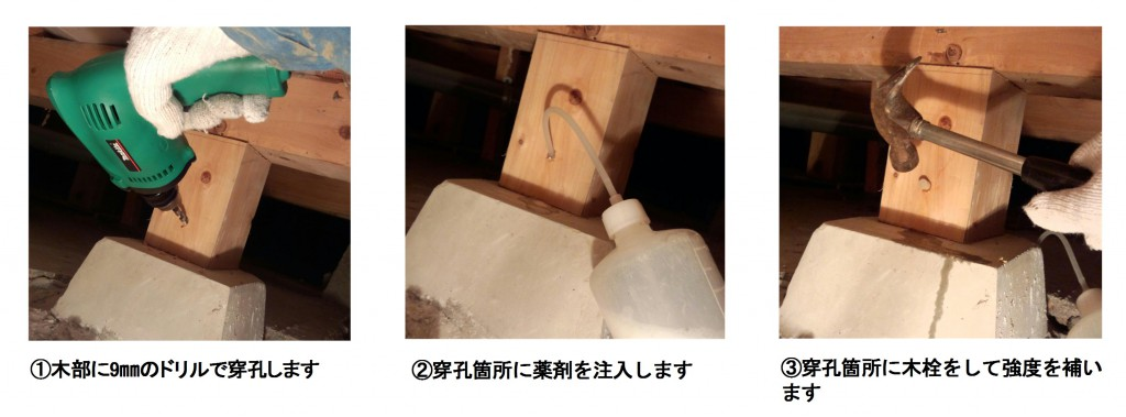 白蟻消毒 木部への薬剤注入